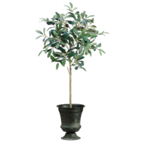 30 Inch Silk Olive Topiary in Tin Urn