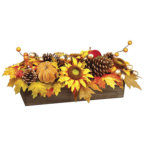 9 Inch x 21 Inch Pumpkin Sunflower Maple in Wood Pot