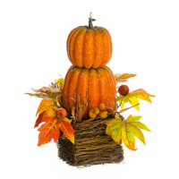 15.75 Inch Stacking Pumpkin Rosehip in Basket