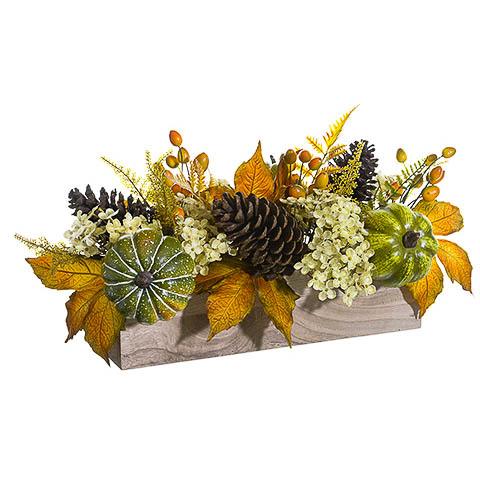 9 Inch x 22 Inch Hydrangea Pumpkin Pine Cone in Wood Box