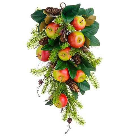 16 Inch x 26 Inch Apple/Magnolia Leaf/Pine Cone Door Swag