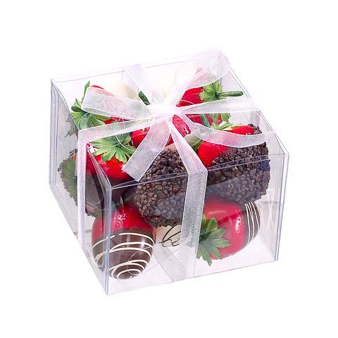 4.5 Inch x 4.5 Inch Faux Chocolate Strawberry w/Hanger Assortment In Box (12 Per/Box)