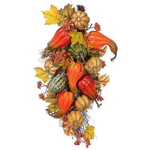28 Inch Pumpkin/Gourd/Maple Door Swag