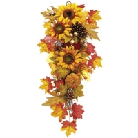 13 Inch x 31 Inch Pumpkin/Sunflower/Maple Door Swag