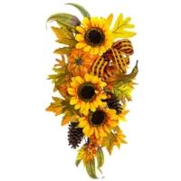 19 Inch Pumpkin/Sunflower/Pine Cone Door Swag