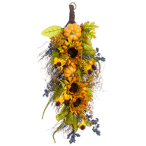 16 Inch x 32 Inch Pumpkin/Sunflower/Berry Door Swag