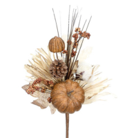 14 Inch Fake Pumpkin/Berry/Pine Cone/Grass Pick