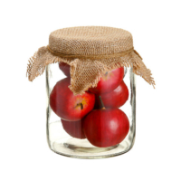 Faux Apple in 5.75 Inch Glass Jar Red