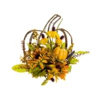 15 Inch W x 16 Inch L Pumpkin Sunflower Berry Wall Swag
