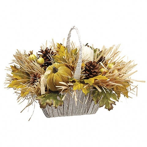 13 Inch Pumpkin Maple Leaf Straw in Basket