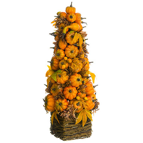 23 Inch Pumpkin/Rosehip Cone Topiary in Basket