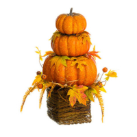 24 Inch Stacking Pumpkin Rosehip in Basket
