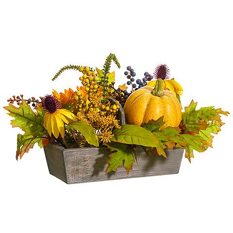 10 Inch Pumpkin Sunflower Berry Arrangement in Wood Pot