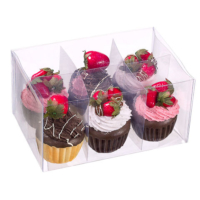 4 Inch H x 6 Inch W x 9 Inch L Assorted Fake Cupcake with Strawberry (6 Per/Box)