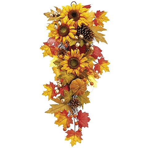 13 Inch x 31 Inch Pumpkin/Sunflower/Maple Door Swag
