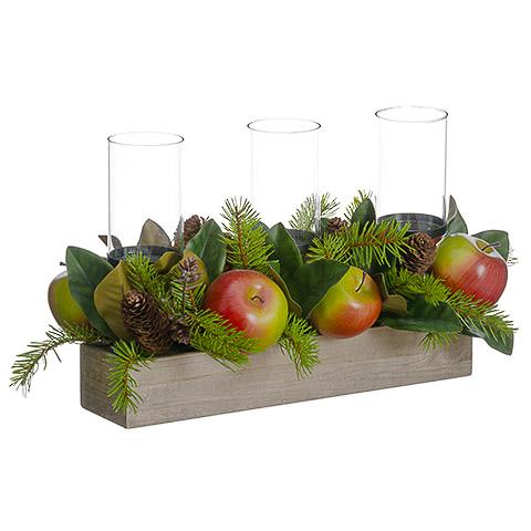 11.5 Inch H x 12 Inch W x 22 Inch L Apple/Magnolia Leaf/Pine Cone Centerpiece w/Candleholder
