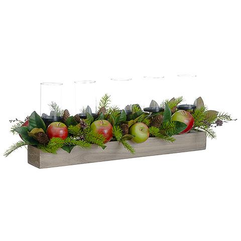 11.5 Inch H x 12 Inch W x 32 Inch L Apple/Magnolia Leaf/Pine Cone Centerpiece w/Candleholder