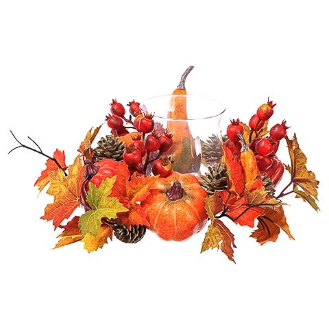 6.5 Inch H x 19 InchD Pumpkin/Gourd/Maple Centerpiece With Glass Candleholder