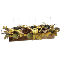 13 Inch H x 32 Inch L Pumpkin/Gourd/Pine Cone/Leaf Centerpiece With Glass Candleholder