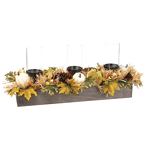 13 Inch H x 31 Inch L Pumpkin/Maple Leaf/Straw Centerpiece With Glass Candleholder