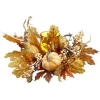 16 Inch Pumpkin/Gourd/Corn Husk Centerpiece With Glass Candleholder