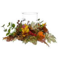 10 Inch H x 12 Inch D Pumpkin/Gourd/Berry Centerpiece With Glass Candleholder