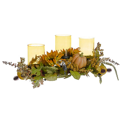 9.5 Inch H x 30 Inch L Pumpkin/Sunflower/Berry Centerpiece With Glass Candleholder