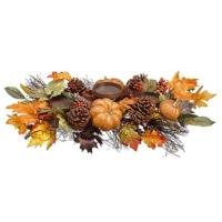 26 Inch Pumpkin/Berry/Fall Leaf Centerpiece With Candleholder
