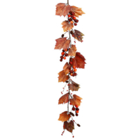 4 Foot Faux Berry/Grape Leaf/Pine Cone Garland