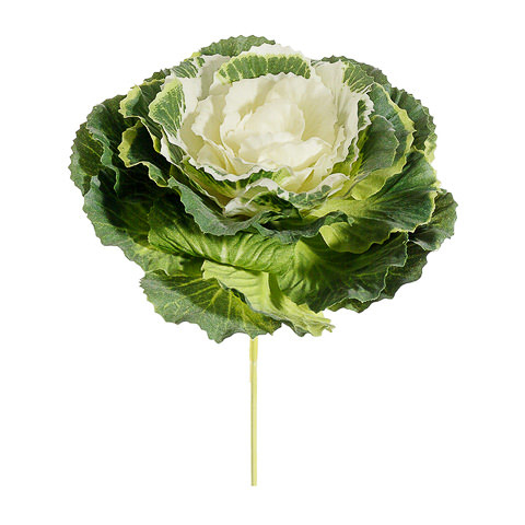 4 Inch Faux Cabbage Pick Green Cream