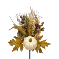 17 Inch Faux Pumpkin/Lotus Pod/Grass Pick