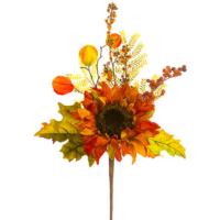 18 Inch Faux Pumpkin/Hydrangea/Sunflower Pick