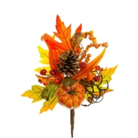 14 Inch Faux Pumpkin/Berry/Pine Cone Pick