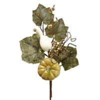 18 Inch Fake Pumpkin/Gourd/Grape Leaf Pick