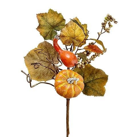 18 Inch Faux Pumpkin/Gourd/Berry/Grape Leaf Pick