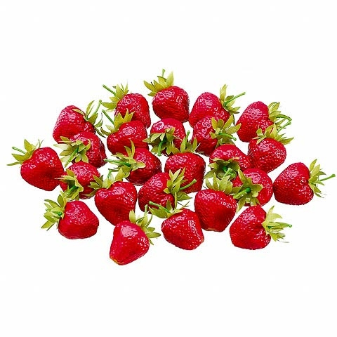 1.5 Inch x 1.5 Inch PVC Plastic Strawberry (24 Per/Bag)