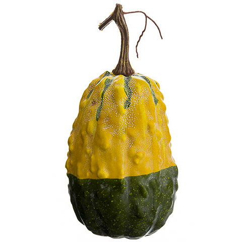 9 Inch Weighted Faux Gourd Yellow Green