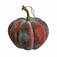 7 Inch Weighted Faux Pumpkin Antique Brown