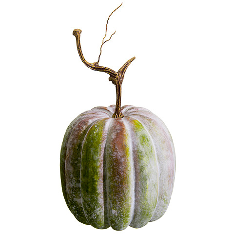 13 Inch Weighted Faux Pumpkin Antique Green