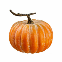 8 Inch Weighted Artificial Pumpkin Orange Green