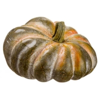 6.5 Inch Weighted Faux Pumpkin Green Orange