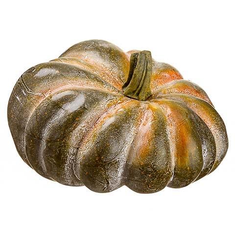 6.5 Inch Weighted Faux Pumpkin Green Orange