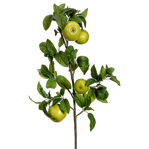 35 Inch Artificial Apple Branch Green