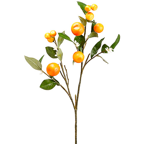 33 Inch Artificial Orange Blossom Spray Orange White