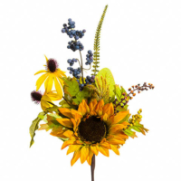 15 Inch Silk Sunflower Rudbeckia Berry Spray Butterscotch Amber