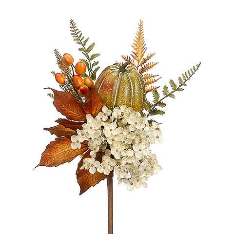 16 Inch Silk  Hydrangea Pumpkin Fern Spray Beige Orange