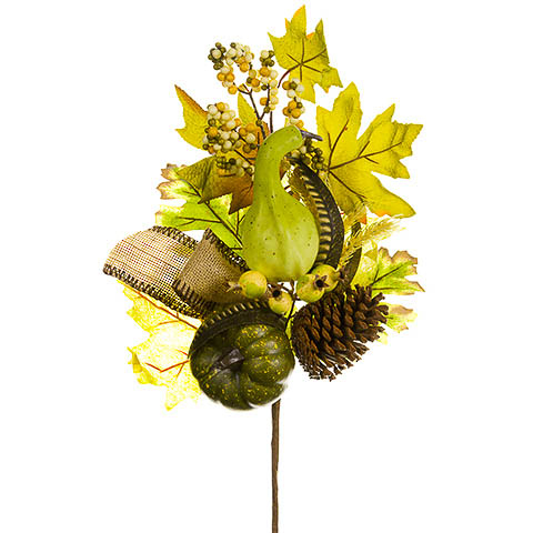 20 Inch Silk Pumpkin Gourd Pine Cone Leaf Spray Two Tone Green