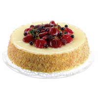 8 Inch D x 2 Inch H Soft Touch Fake Cheese Cake Topped with Strawberry Raspberry