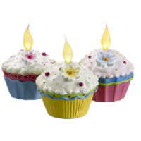 Assorted Fake Cupcakes with Light (3 Per/Box)
