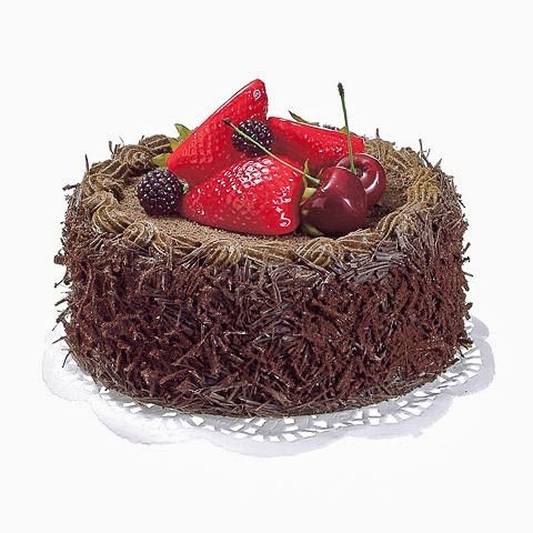 6 Inch D x 2 Inch H Fake Chocolate Cake with Berry
